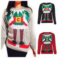 WOMENS LADIES  XMAS JUMPER ELF BODY JOKER CHRISTMAS KNITTED SWEATER TOP UK 8-24