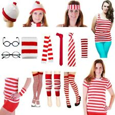 Womens Red And White Striped T-Shirt Vest Hat Nerd Glass Socks Fancy Dress Lot