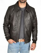 Mens Real Cowhide Bomber Leather Jacket BROWN Fitted Classic Zip Up Pilot Jacket