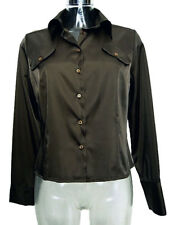 Camicia donna Promesse Tg M Verde Raso Made in Italy Sexy Woman Shirt