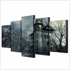 5 piece Canvas Wall Art Halloween Spooky Grey Castle Painting Wall Decoration