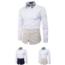 Men Long Sleeve Slim Fit  splicing Letters Shirt Casual Turn Down Collar Tops