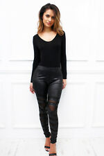 UK SIMILPELLE Mesh Cut Out Aderente Slim Leggings Sexy glamzam NUOVO Donna