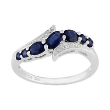 Sterling Silver 0.94ct Natural Blue Sapphire & Diamond Contemporary Style Ring