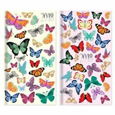 2018 Diary Slim Tall Week To View WVT Glitter Butterfly Design Pattern Hardback