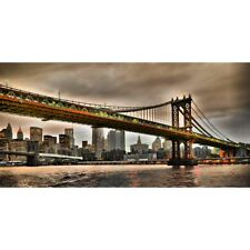 Quadro Ponte di Manhattan New York City Stampa Mdf Tela Swarovski Pannello Casa