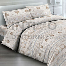 COMPLETO LENZUOLA FLANELLA INVERNALE TIROLESE LOVE BEIGE 100% COTONE MADE ITALY