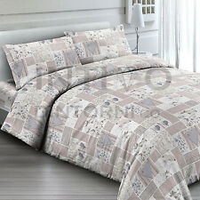 COMPLETO LENZUOLA FLANELLA SHABBY BEIGE PATCHWORK SINGOLO 100% COTONE MADE ITALY