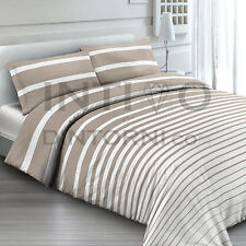 COMPLETO LENZUOLA FLANELLA RIGHE BIANCO BEIGE FRANCESE 100% COTONE MADE ITALY