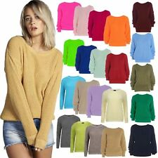 WOMENS LADIES CASUAL BASIC CHUNKY KNITTED BAGGY JUMPER WINTER TOP PLUS SIZE 8-22