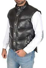 Mens Quilted Leather Waistcoat BLACK Puffer Body Warmer Vest Sleeveless Gilet
