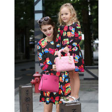 Mother Daughter Long Sleeve Autumn Winter Christmas Dresses Matching Clothes
