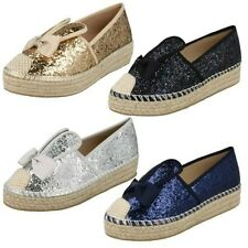 Donna Spot On Paillettes orecchie da coniglio Espadrillas F80236