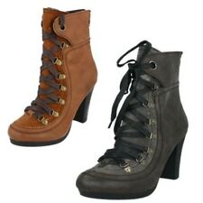 Mujer Spot On Botines Con Cordones THE STYLE F5530 ~ N