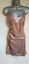 BNWT New NEXT Rose Gold Sequin Strappy Layered Sheath Pencil Dress 14 16  18 £50