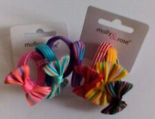 3 Striped Elastics With Fabric Bow Detail - Choice of 2 Colourways
