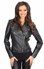 Trendy womens fitted biker style leather jacket latest stylish BLACK zipper coat