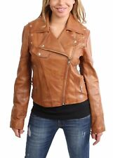 Trendy womens fitted biker style leather jacket latest stylish TAN zipper coat