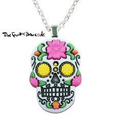 TFB - SUGAR SKULL PINK FLOWER PENDANT NECKLACE Hot Gothic Day Dead Emo Punk Rock