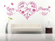 Love Joy Peace Heart Quote, Wall Art Stickers Decal Murals, Bedroom, Lounge