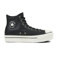 "CONVERSE Scarpe DONNA Shoes ""All Star Platform Hi"" New LEATHER Nuove PELLE Blk"
