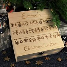 Engraved Wooden Christmas Eve Box Personalised Treat Box   - Hanging Baubles