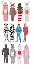 Childrens Onezie Fleece Hooded All In One Piece Jumpsuit Pyjamas Pajama Age 3-13
