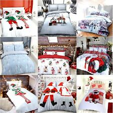 Christmas Kids Xmas Duvet Set Bed Festive Quilt Cover Santa Snowman Elf Bedding