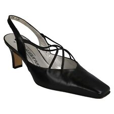 LADIES PETER KAISER BLACK LEATHER SLING BACK ELASTIC FRONT COURT SHOES  BIFFY
