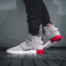 Mens Adidas Originals Tubular Invader Strap Trainers Ecru Red White Mid Tops