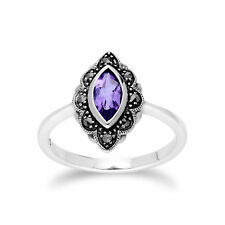 Gemondo Sterling Silver Amethyst & Marcasite Art Nouveau Ring