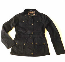 New Wax Jacket Coat Fitted Ladies Belted Biker Brown Black Free Can of Wax