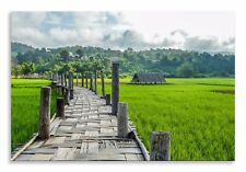 Paddy Field Canvas Indonesia Walkway Landscape Wall Art Picture Home Decor