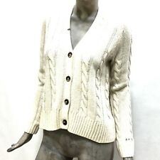 Sun68 Cardigan Donna Maglione Aperto Lana Bianco Wool Short Cardigan Cable 25262