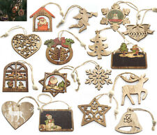 G104 - 2 or 3 x Christmas Vintage Wooden Craft Tree Decorations Xmas Ornaments