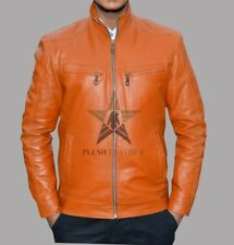 NEW PLUSH FASHION TAN COLOUR SHEEP/COWHIDE LEATHER JACKET FOR MEN