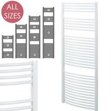 AURA Curved White Heated Towel Rail / Warmer / Radiator For Bathroom & Kitchen
