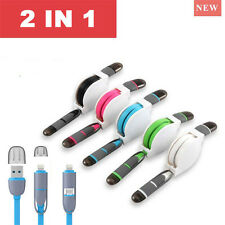 1M Retráctil 2 en 1 Micro USB + Rayo Datos Cargador Cables para iPhone/Samsung