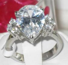 tTK186PB BIG 6.5CT PEAR CUT SIMULATED DIAMOND RING STAINLESS STEEL NOT TARNISH