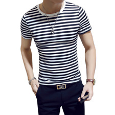 New Fashion Cotton O-Neck Men T-shirt Short-sleeved Tops Tee Slim Fit Striped