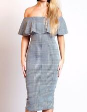 ❤ Grey Gingham Check Bardot Frill Bodycon Party Midi Occasion Dress 8 10 12 14 ❤