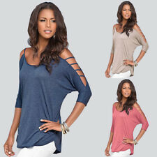 New Womens Loose Casual Hollow Long Sleeve Solid T-Shirt Cotton Basic Blouse Top