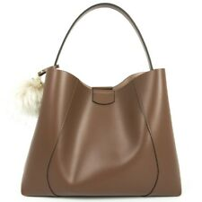 Borsa donna in pelle con tracolla sganciabile, Loristella made in Italy - Marron