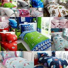 Childrens Kids Duvet Cover Set And Fitted Sheet Boys Girls Bedding Matching Set