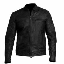 Mens Biker Vintage Antique Black Cafe Racer Moto Real Lamb Leather Jacket
