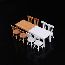 1:12 Wooden Kitchen Dining Table With 4 Chairs Set Barbie Dollhouse Furniture  R