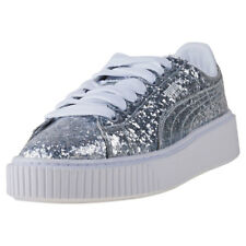 Puma Basket Platform Glitter Womens Silver Leather Casual Trainers Lace-up