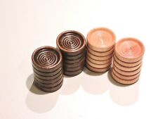 24 Wood Checkers ~ Game Pieces ~ 12 Natural & 12 Walnut ~ Stackable