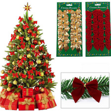 12PCS Christmas Tree Red Bow Decoration Baubles Xmas Party Garden Bows Ornament