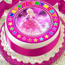 BALL GOWN BARBIE PINK PRECUT EDIBLE HAPPY BIRTHDAY CAKE TOPPER DECORATION